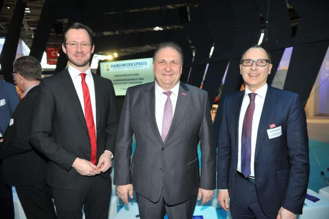 PSts Dirk Wiese (BMWi), Hans Peter Wollseifer (ZDH), Guy Selbherr (VDB)